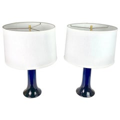 Pair of Deep Blue Glass Lamps by Luxus, Sweden, 1980
