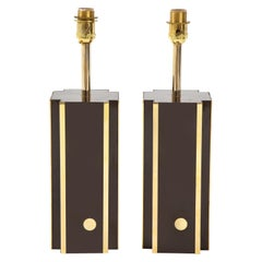 Pair of Deep Brown Laminate Table Lamps, France, 1970s