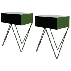 Pair of Deep Green Powder Coated Steel Robot Bedside Tables