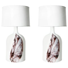 Pair of Deep Red and White Holmegaard Table Lamp, Denmark, 1980