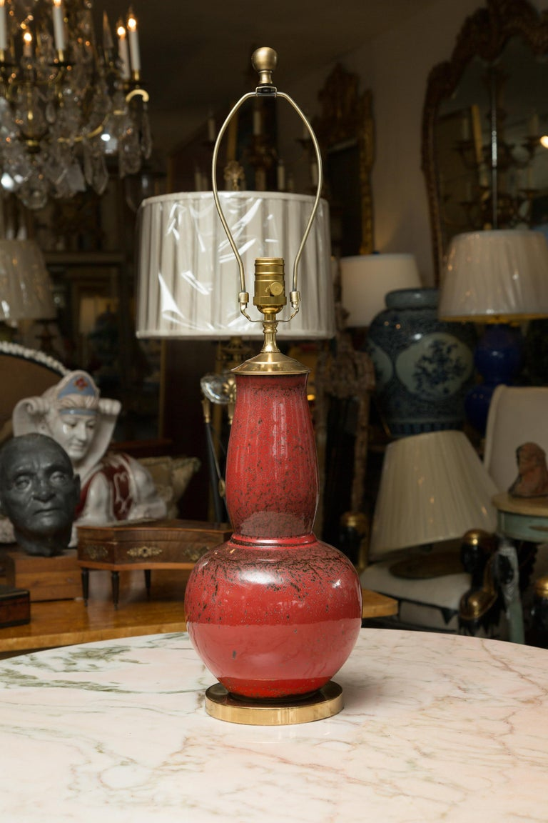 Pair of Deep Red Gourd Vases as Table Lamps In Good Condition For Sale In WEST PALM BEACH, FL