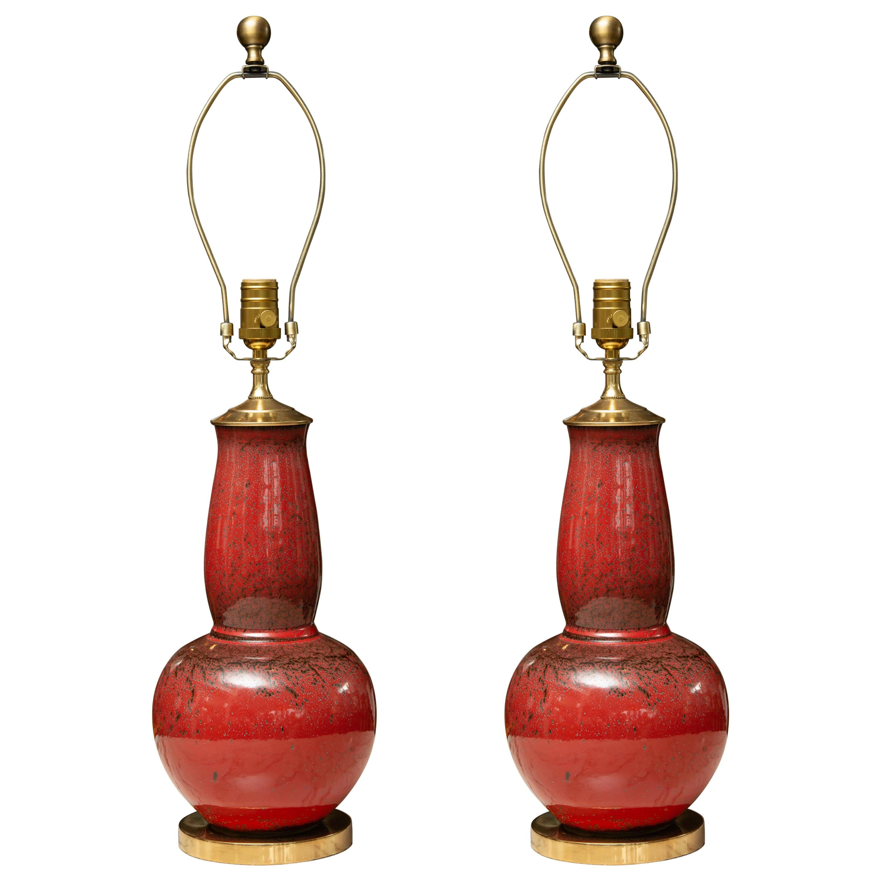 Pair of Deep Red Gourd Vases as Table Lamps