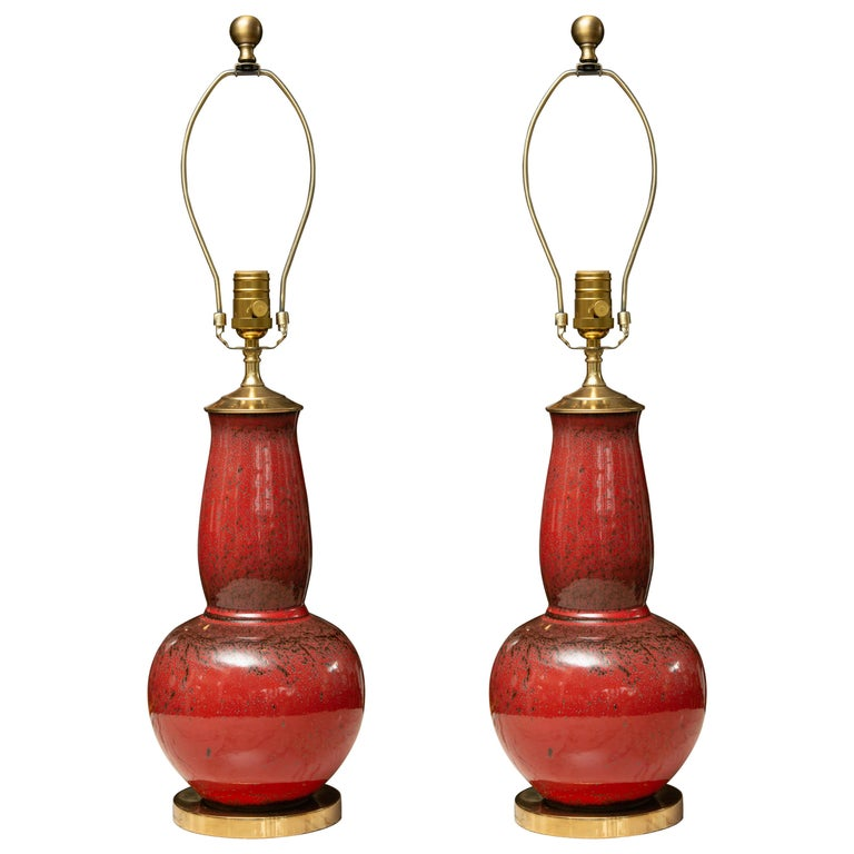 Pair of Deep Red Gourd Vases as Table Lamps For Sale