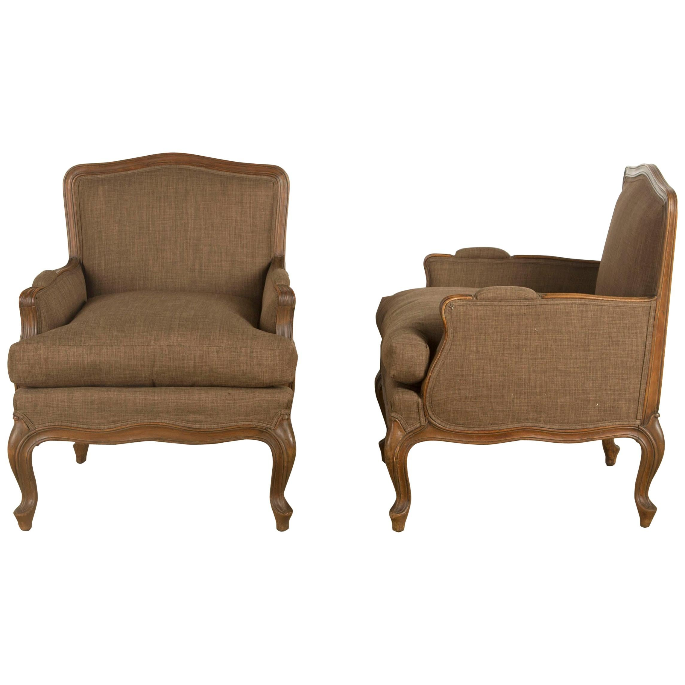 Pair of Deep Seated French Bergères