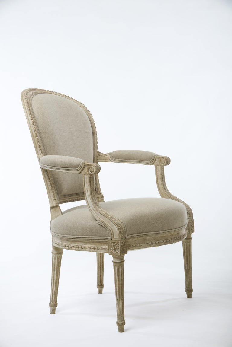 Pair of Delaisement Cabriolet Armchairs in the Style of Louis XVI 2