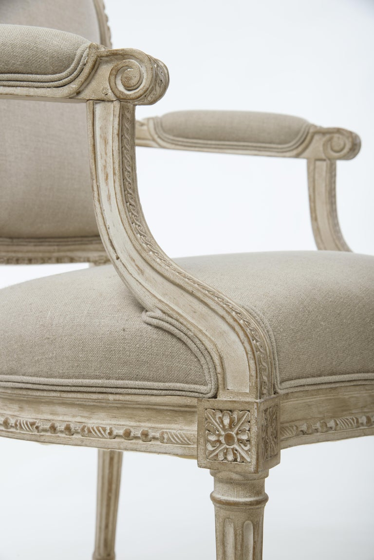 Pair of Delaisement Cabriolet Armchairs in the Style of Louis XVI 4