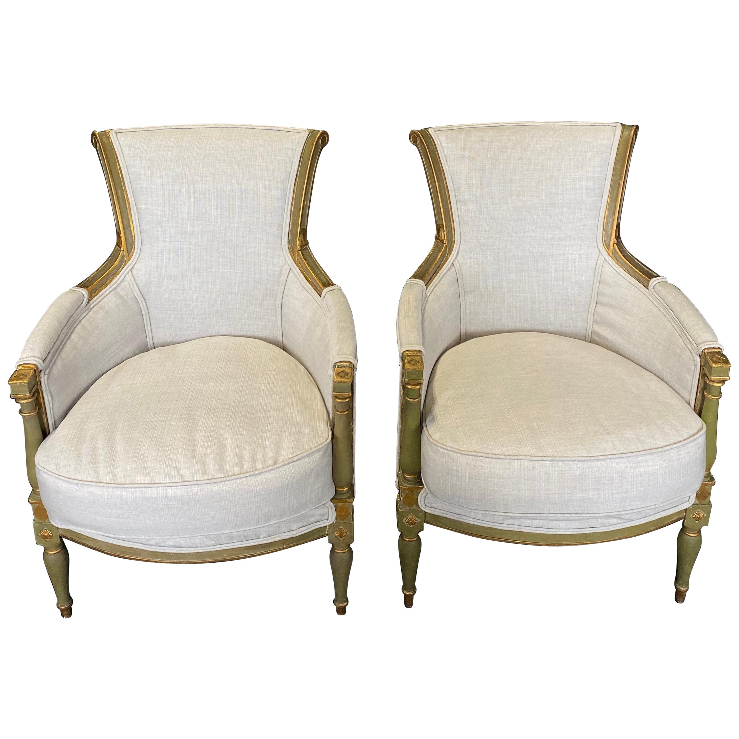 Pair of Delectable Early 19th Century Painted Neoclassical Armchair Bergères