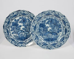 """Pair of Delft Blue and White Chargers circa 1770 by De Porceleyn Bijl """"The Axe"""""""
