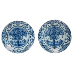 Pair of Delft Blue and White Chargers in the Theeboom Pattern Made circa 1770