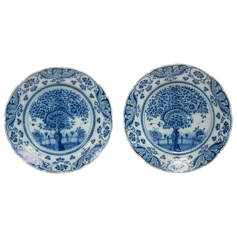 Pair of Delft Blue and White Chargers in the Theeboom Pattern Made circa 1770 For Sale