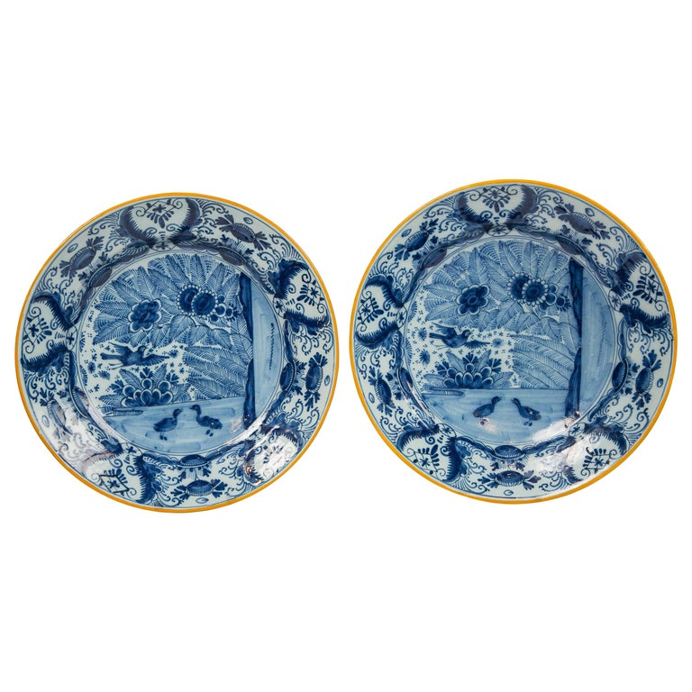 Pair of Delft Blue and White Chargers Made circa 1785 For Sale