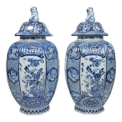 Pair of Delft Blue and White Large Ginger Jars