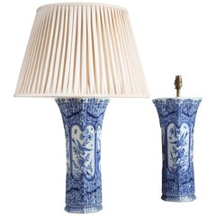 Pair of Delft Blue and White Trumpet Vases Mounted as Table Lamps