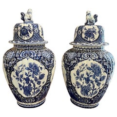 Pair of Delft Blue Porcelain Lidded Vases