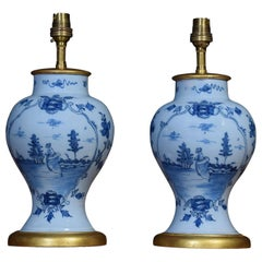 Pair of Delft Blue Porcelain Table Lamp