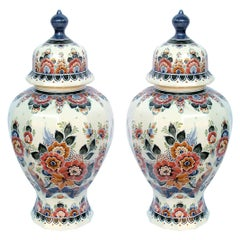 Pair of Delft Hand Painted Covered Jars Signed by the Artist P. Verhoeve