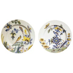Pair of Delftware Polychrome Decorated Chargers of Exceptional Quality