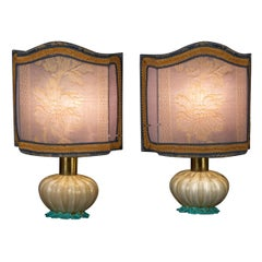 Pair of Delicious Barovier Murano Glass Table Lights, 1940
