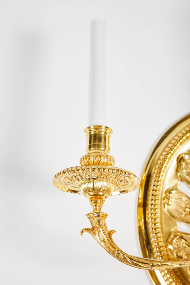 Gilt Pair of Delisle Gold-Plated Sconces For Sale