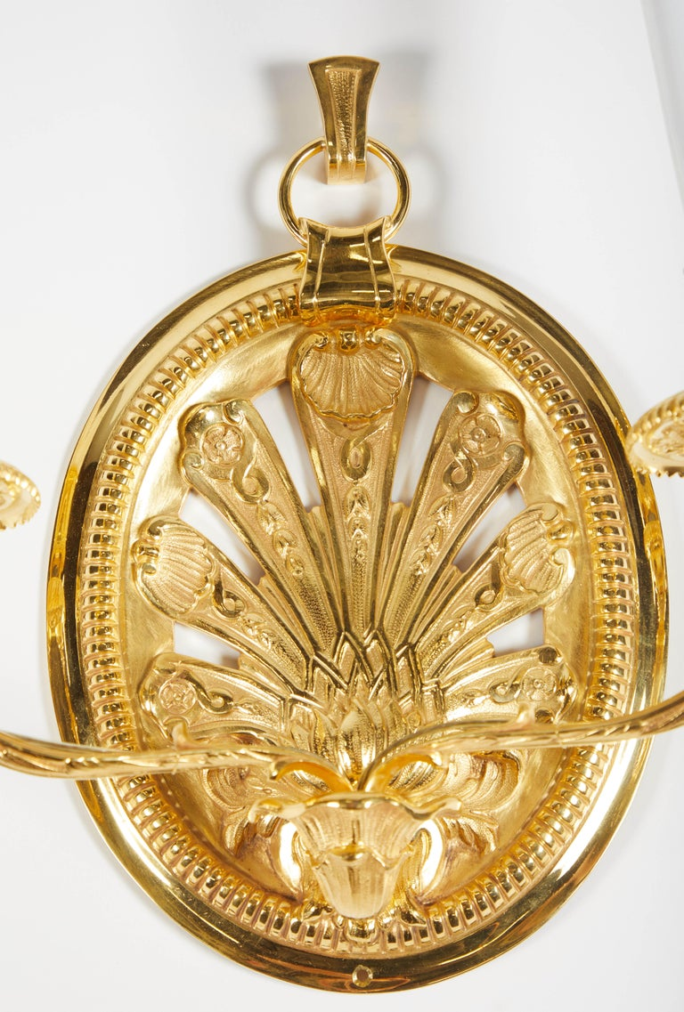 Pair of Delisle Gold-Plated Sconces In Excellent Condition For Sale In Los Angeles, CA