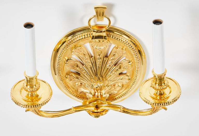 Contemporary Pair of Delisle Gold-Plated Sconces For Sale