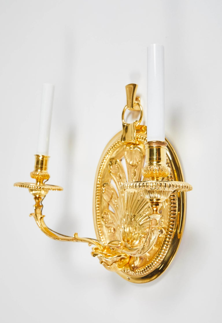 Pair of Delisle Gold-Plated Sconces For Sale 1
