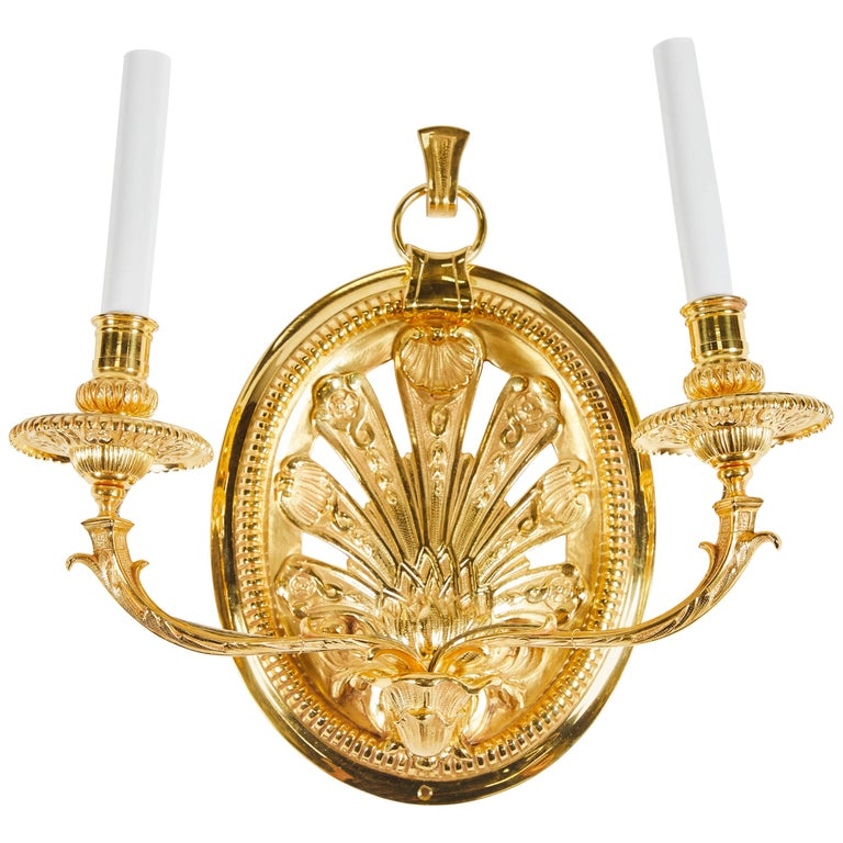 Pair of Delisle Gold-Plated Sconces For Sale