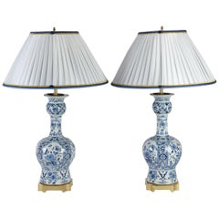Pair of Delph Faience Lamps, 19th Century