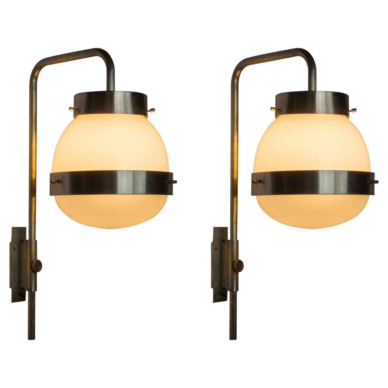 """Pair of """"Delta"""" Sconces by Sergio Mazza for Artemide"""