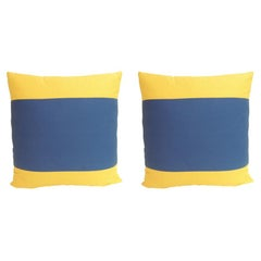 "Pair of ""Delta"" Yellow and Blue Nautical Flag Inspired Square Decorative Pillows"