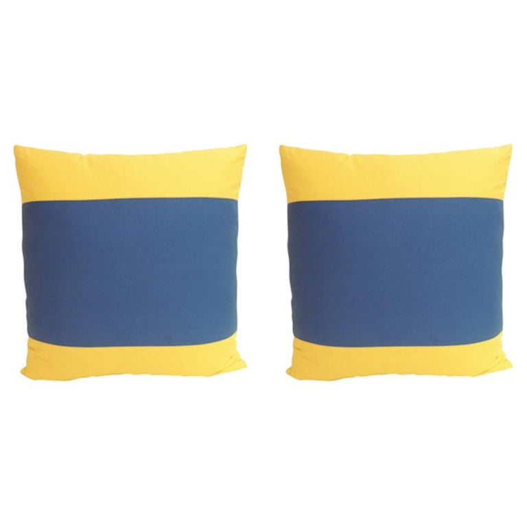 """Pair of """"Delta"""" Yellow and Blue Nautical Flag Inspired Square Decorative Pillows For Sale"""