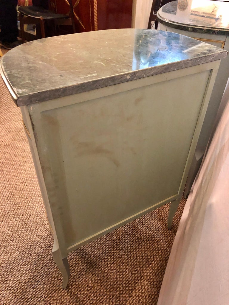 Pair of Demilune Painted Marble Top Louis XV Style Nightstands or End Tables For Sale 8