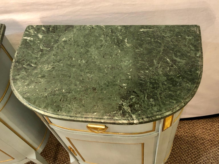 20th Century Pair of Demilune Painted Marble Top Louis XV Style Nightstands or End Tables For Sale