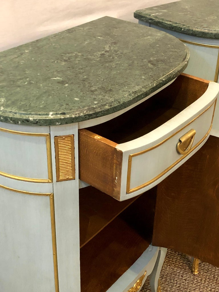 Pair of Demilune Painted Marble Top Louis XV Style Nightstands or End Tables For Sale 2