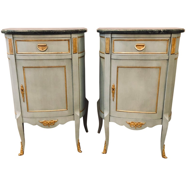 Pair of Demilune Painted Marble Top Louis XV Style Nightstands or End Tables For Sale