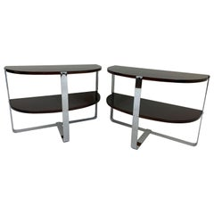 Pair of Demilune Chrome and Walnut End Tables in the Style of Donald Deskey