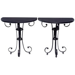 Pair of Demilune Consoles with Italian Iron Candelabra Base and Black Metal Tops