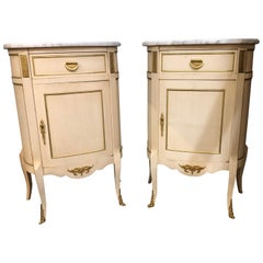 Pair of Demilune Louis XV Style Painted and Bronze-Mounted End Tables