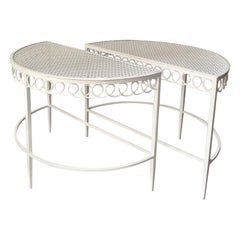 Pair of Demilune Metal Tables in White by Matégot, Mid-20th Century France