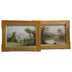Pair of Derby English Porcelain Plaques Painted by Wm Hancock in Gilded Frames