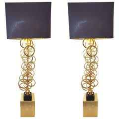 Pair of Design Standing Lamps with Violet Lampshade