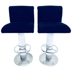 Pair of Designs for Leisure Blue Suede Bar Stools
