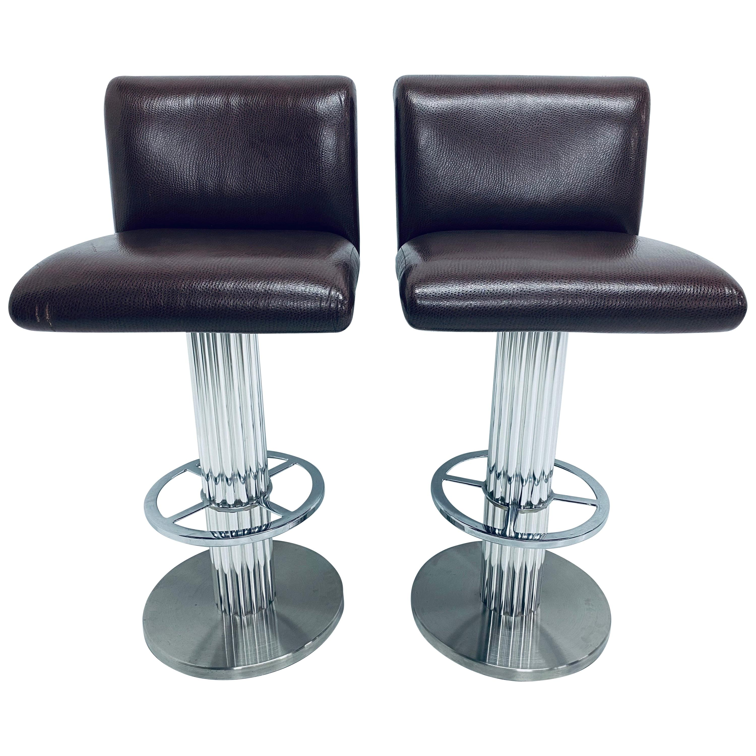 Pair of Designs for Leisure Faux Brown Leather and Fur Bar Stools, 1970s