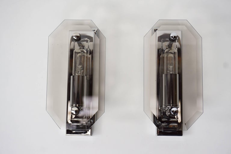 Pair of Space Age design chrome and smoked glass sconces made in RFA (West Germany) at the manner of Veca.