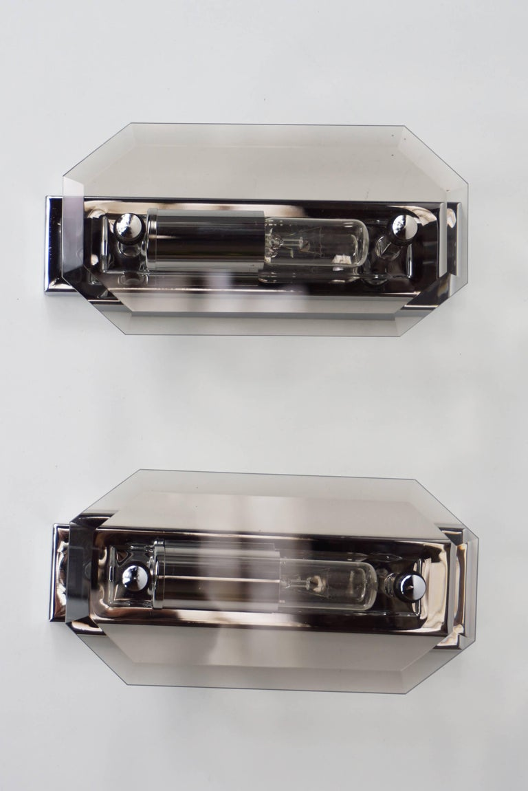 German Pair of Deutch Design Chrome and Bevelled Glass Wall Sconces For Sale