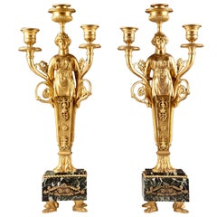 Pair of Deuxieme Empire Three-Armed Candlesticks, Bronze 'Gilt', Marble, 1860
