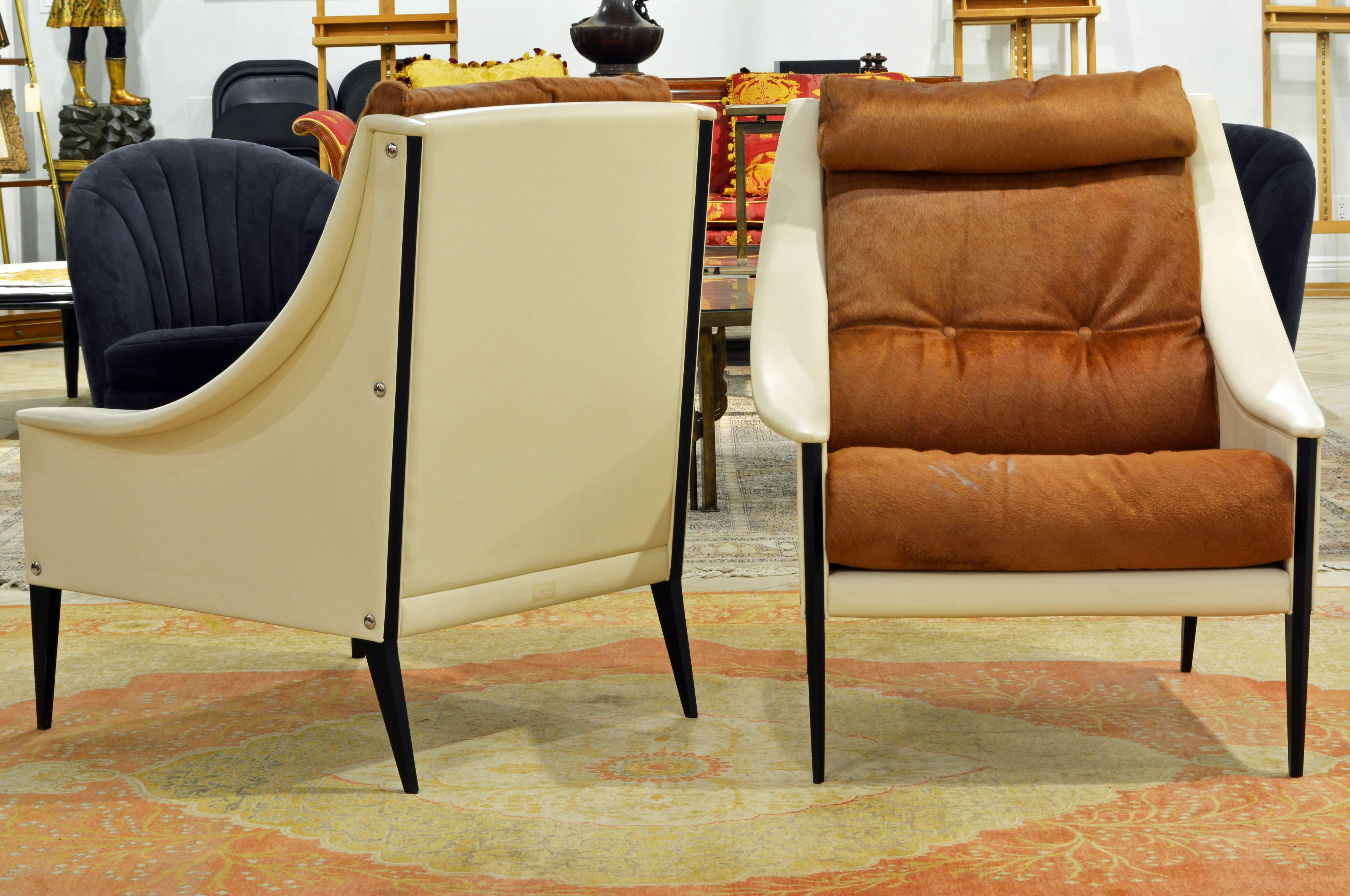 Modern Pair Of Poltrona Frau U0027Dezzau0027 Leather And Cow Hide Lounge Chairs By  Gio