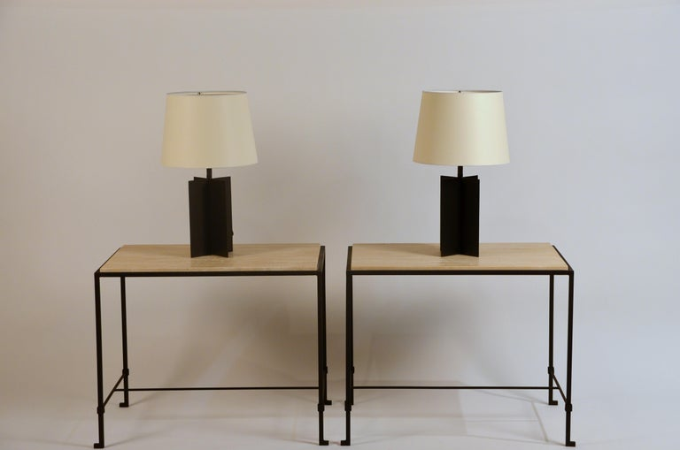 Pair of 'Diagramme' Wrought Iron and Travertine Side Tables by Design Frères For Sale 3