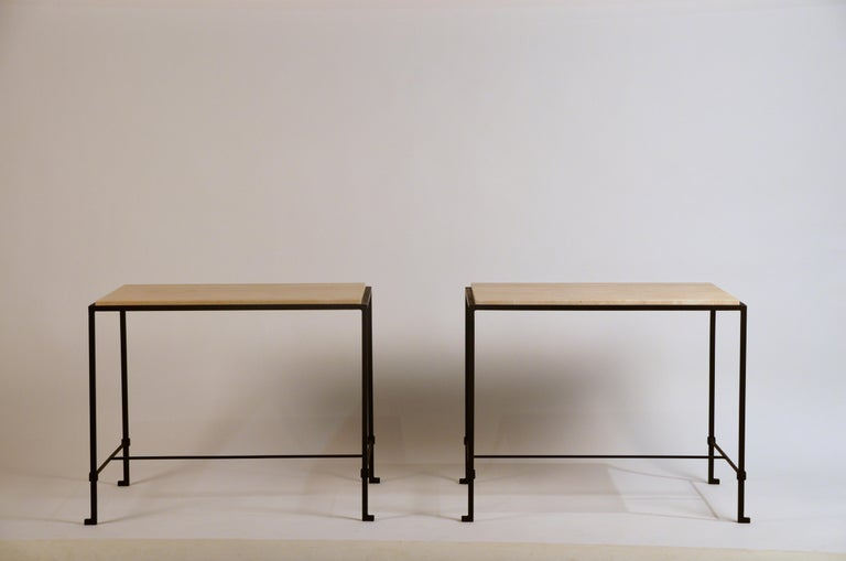 Pair of 'Diagramme' Wrought Iron and Travertine Side Tables by Design Frères For Sale 4