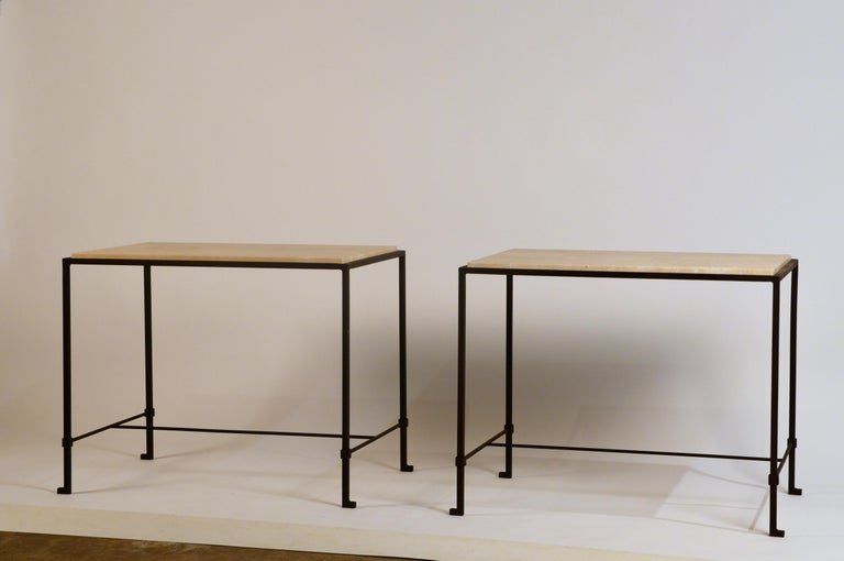 Pair of 'Diagramme' wrought iron and travertine side tables by Design Frères.  Lower bar is 4.5